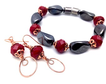 Mothers Gift Red Black Bracelet Earring Set || Distinctive || Chunky SUPER STRONG Magnetic Hematite || Copper Accents || Holistic