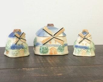 Ceramic Windmill Salt Pepper Shaker & Sugar Bowl Set, Vintage Tableware Made in Japan, Cottage Chic Kitchen Decor