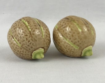 Arcadia Ceramics Cantaloupe Melon Miniature Salt & Pepper Shakers