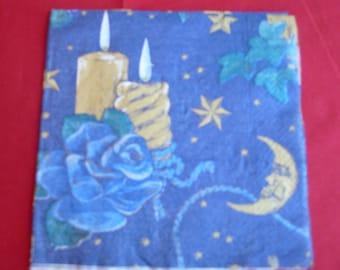 """Christmas theme napkin """"candle"""""""