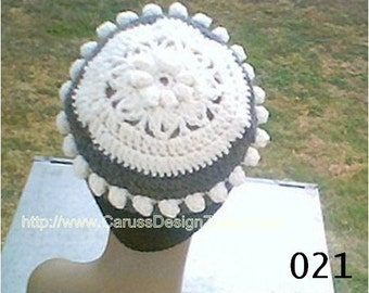 0021 SnowFlake Hat Pattern,Flapper Beanie Pattern,Crochet Women Pattern,Floral Beanie pattern by CarussDesignZ