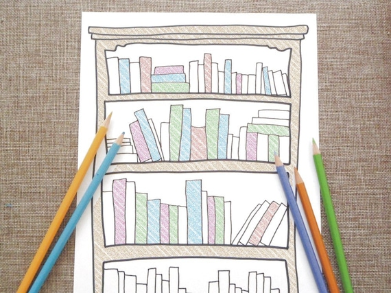 Bookshelf Adult Coloring Page Kids Library Book Readers