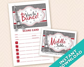 Paris or French Theme Bunco Night  Printable Bunco Scorecard and Table Marker Set (a.k.a. Bunko, score card, score sheet)