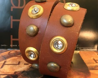 Honey Brown Leather Dog Collar with Rhinestones and Brass Metal Accents, Size M/L, to fit a 15-18 Neck Size, Medium to Large Dog, OOAK