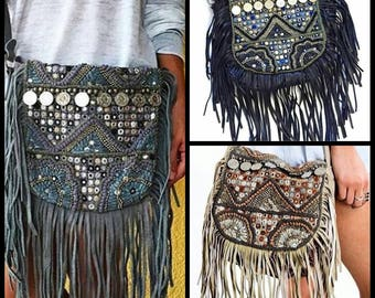 bohemian leather crossbody shoulder bag