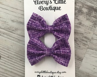 Purple hair clips- pigtail clips - pigtail bows - spring hair accessories