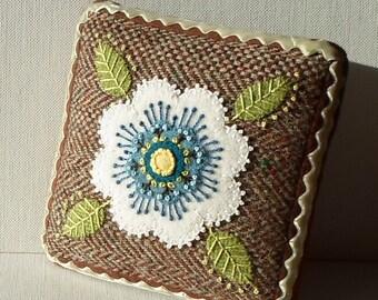 Handmade Needle Cushion Felted Wool Blue & Cream Blossom Pincushion