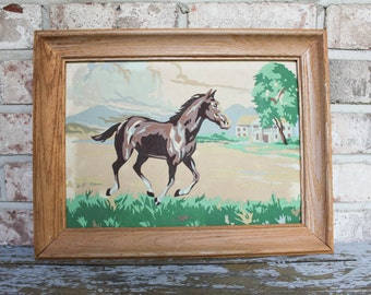 Beautiful vintage paint by number running horse with frame mid century PBN