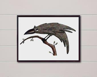 Raven Art Print, Raven Decor, Bird Art Print, Crow Art Print, Crow Art Poster, Bird Illustration, Raven Wall Art Print, Gothic Art Poster