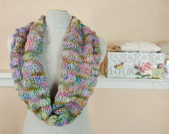 Giverny Hand Knit Cowl - Delicate Soft Hand-spun Art Yarn Infinity Scarf - Item 1433