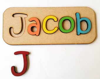 Personalised Name Learning Tool Back to School Primary Gift Laser Cut wood