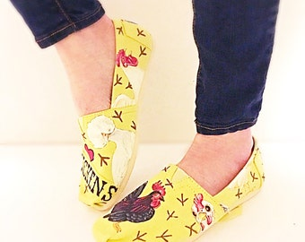Custom chicken toms - i love chickens canvas shoes - hand painted chicken theme - chicken gift - adult personalized shoes