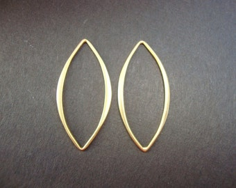 2 pcs - 25x13 mm, 24K Gold Plated on Sterling Silver Hammered Marquis Shape Link