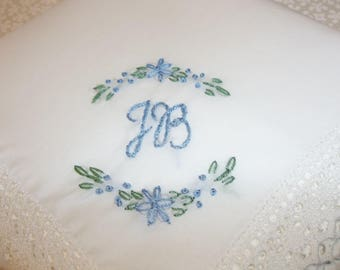 daisy something blue, wedding handkerchief, blue for bride, monogram bride hanky, hand embroidered, gift for bride, bridal gift, keepsake