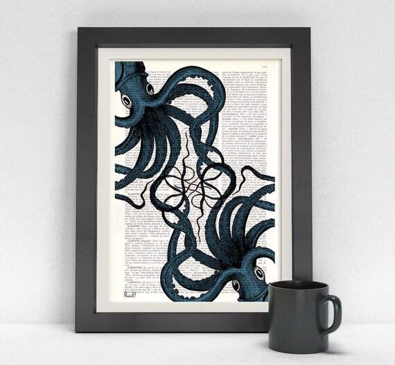 Octopus print- Dictionary art print- Octopus meeting art, Wall decor Octopus art, Ocean art print Sealife art SEA062