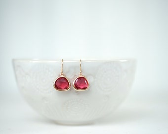 Ruby Red Gem and Gold Dangle Earrings   Bridesmaid Earrings   Wedding Jewelry