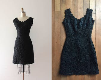 vintage 1960s raffia dress // 60s little black dress