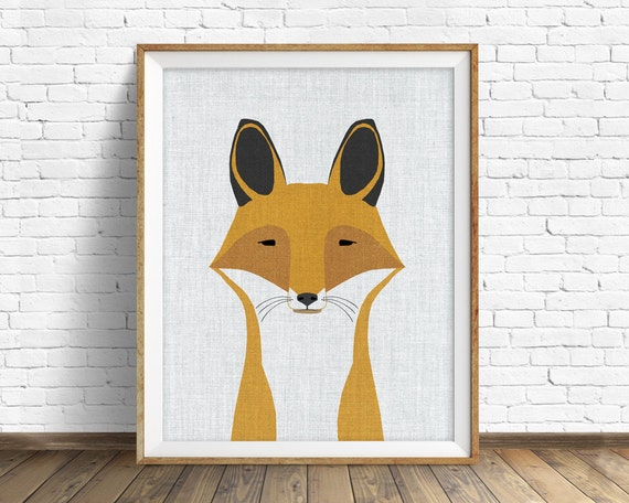 Foxy - art print, large art, mid century modern wall art, art for kids, nursery decor, nursery wall art, woodland nursery, nursery art, fox