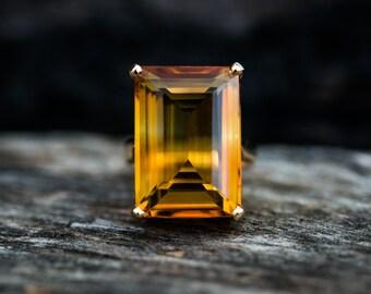 Citrine 14k gold Ring size 5 - Citrine Ring 18.8 ct  - Citrine Gold Ring - november birthstone Citrine Ring - beautiful citrine ring size 5