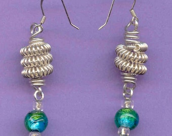 Sterling Silver Coiled Drop Earrings
