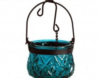 Hanging Candle lantern-Teal