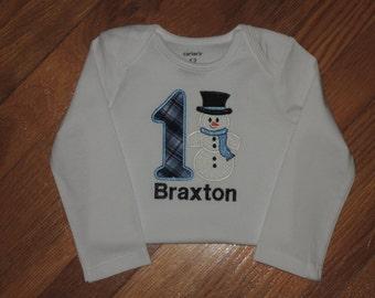 Baby Boy's First Birthday Snowman Personalized Bodysuit 1st (2nd also available) Winter Onderland Wonderland