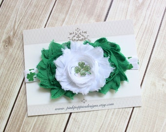 St Patricks Day Headband - Green flower headband - Shamrock - Green Headband - Clover Headband - Irish Headband