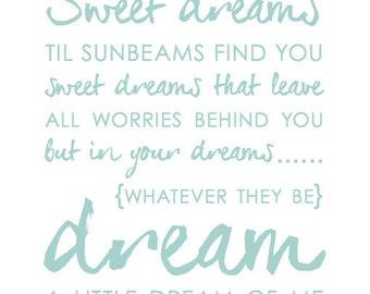 Dream A Little Dream of Me -BLUE // FINAL SALE // Art Print // Nursery Decor // Baby Shower Gift // Home Decor