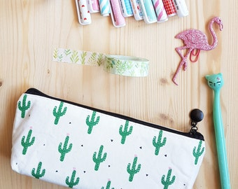 Cactus Pencil Case, Cactus Zipper Pouch, Cacti Pouch, Cosmetic Bag, School Supplies, Planner Accessories, Stationery, Planner Goodies