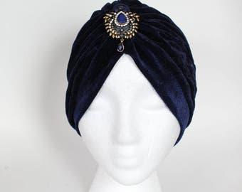Velvet Blue Turban, Turban, Beautiful Removable Brooch Attached, Beautiful Turban, Classy Turban, Luxury Turban, Velvet Turban, Blue Turban