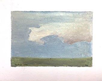 Cloud Painting Maine Artist Painting Robert Solotaire Painting Clouds Sky Art Painting Oil on Paper