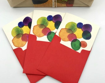3 Pack Rainbow Spots Cards with envelopes