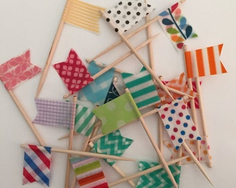 24 Cupcake Topper Flags - Your Choice of Cupcake Toppers - Decorative Toothpicks, Style #3
