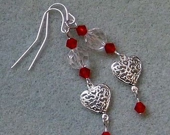 Sterling Silver Valentine's Heart and Red Crystal Earrings - Set 2