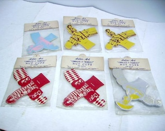 Vintage 1950s Old Store Stock Nut Cups in Original Packages/6 Packages/Cowboy/Clown/Southern Belle/Stork/Adler Art Nut Cups