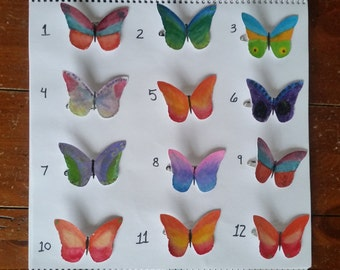 Watercolor butterfly hair clips