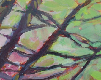 original fine art - Pine Boughs, Pink and Green - affordable wall decor, small acrylic painting on panel - Irene Stapleford - wantknot shop