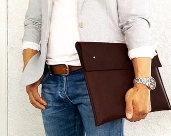 """Macbook housse en cuir / 15"""" Laptop Sleeve / portefeuille / Laptop Case / Handstiched cuir Folio pour macbook 15"""" fait de cuir Horween."""