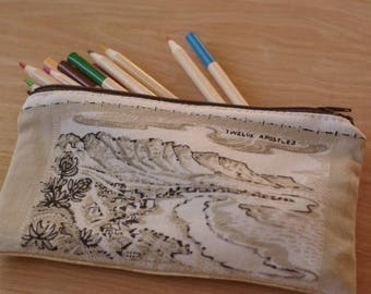 South Africa landscape drawing sketch print pencil case stationery makeup bag zip pouch