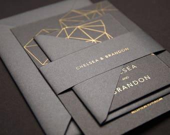 Metallic Geometry Modern Wedding Invitation, Hot stamping foil Wedding Invite, Black and Gold Invite, Starry Night Invite, Sample Suite 28