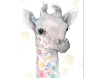 Party Animals Giraffe Print A4