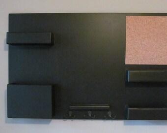 Chalkboard Mail Organizer Corkboard Magazine Holder Key Hooks
