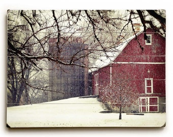 Red Barn in Snow Photo, Wood Plank Sign, Red Barn Photo, Wood Sign, Red Barn in Winter, Rustic Home Decor, Rustic Wood Sign, Art on Wood