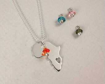 Sterling silver Africa necklace with Swarovski charm - Heart ethiopia pendant - Adoption necklace - Collar Africa etiopía
