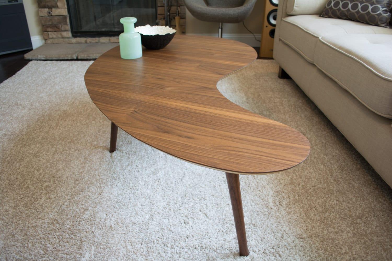 MidCentury Modern Coffee Table Walnut Kidney Bean Extra