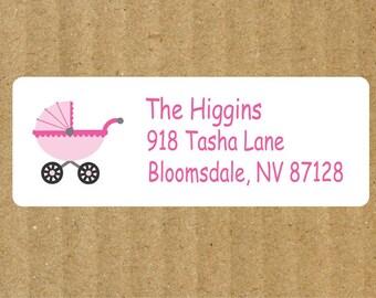 Baby Stroller Address Labels, 90 Labels, Baby Shower, New Arrival Address Labels, New Baby, Baby Stroller, Baby Shower Address Labels
