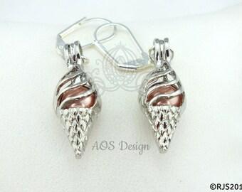 Pearl Cage Silver Ice Cream Cone Earrings Orange Sherbert Pearl Beads Gift Box Birthday Summer Jewelry