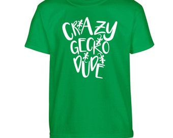 Crazy gecko dude Tshirt kids children's toddler animal reptile lizard amphibian lover love heart zoo female pink blue red green white 2185