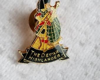 Vintage Dewars Scotch Whiskey Lapel Pin The Dewar Highlander