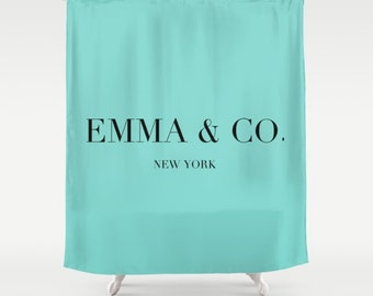 Breakfast at Tiffanys Personalized Shower Curtain, Girls Shower Curtains, Girls Bathroom Decor, Fabric Shower Curtain, Aqua, Turquoise